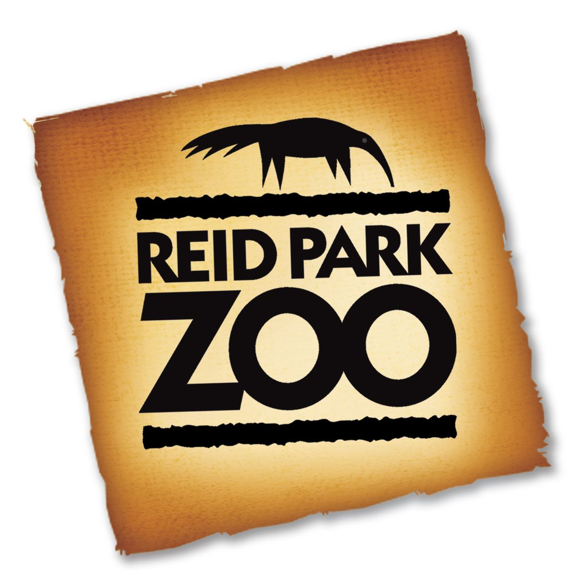 Reid Park Zoo Logo with anteater on a stylized brown paper background