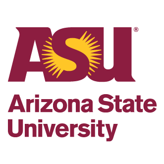 ASU logo on top of maroon letters spelling Arizona State University on off-white background