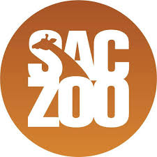 Sacramento Zoo logo on orange circle background, with the silhouette of a giraffe in the center